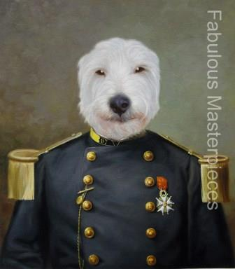 dogs in uniform painting