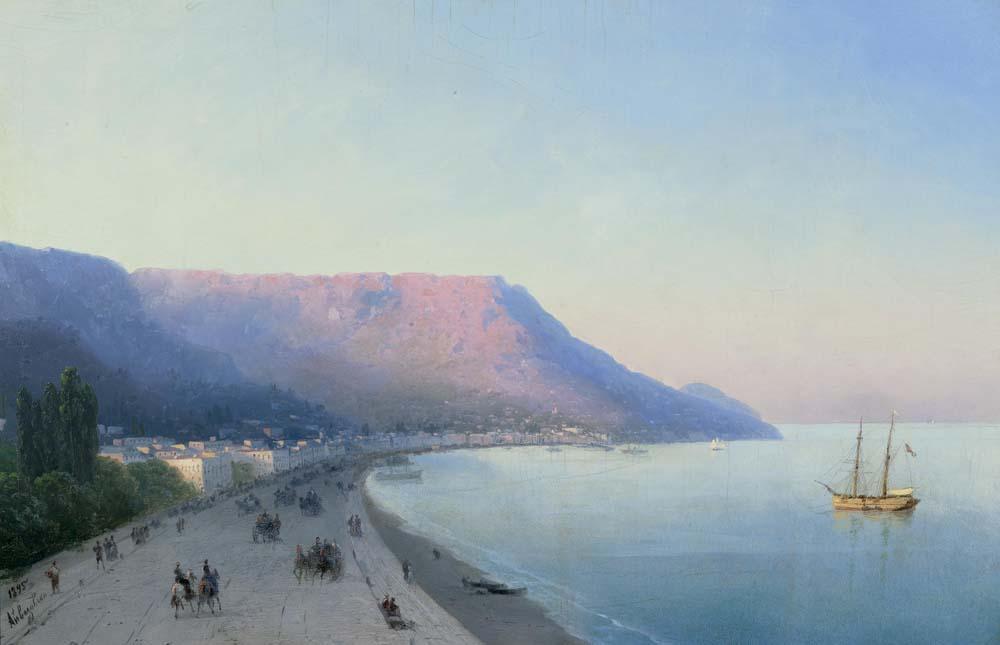 Ivan Aivazovsky - Ansicht von Yalta. Fine Art oil painting