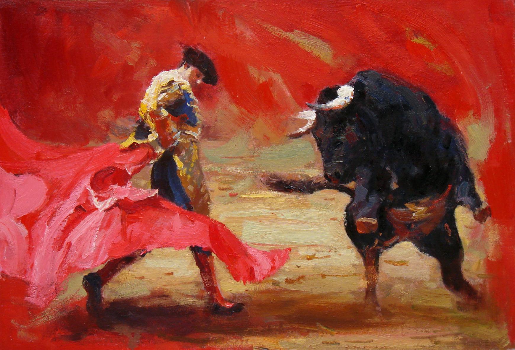 Painting of Bull Scene