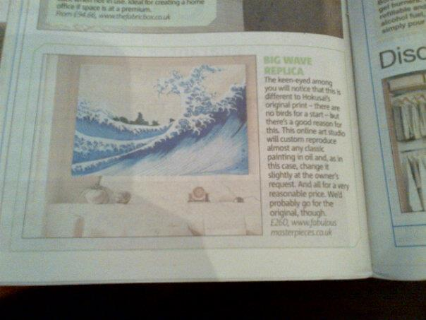 Fabulous Masterpieces' art reproduction of The Big Wave gets a mention in The Metro Newspaper