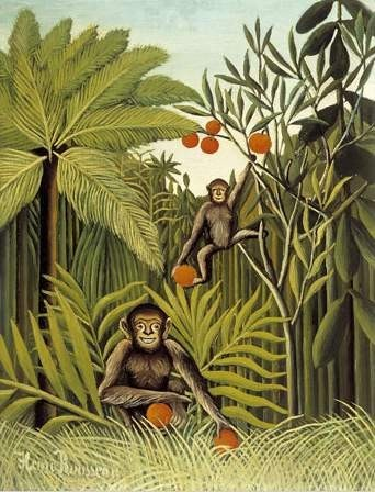 Henri Rousseau - Two Monkeys in the Jungle