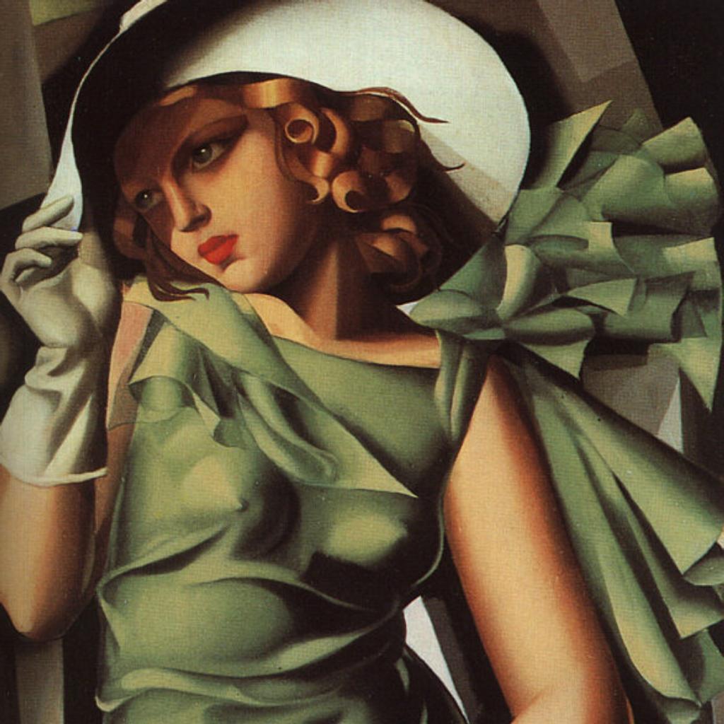 Lempika, woman in a green dress. Art Deco Art by Fabulous Masterpieces