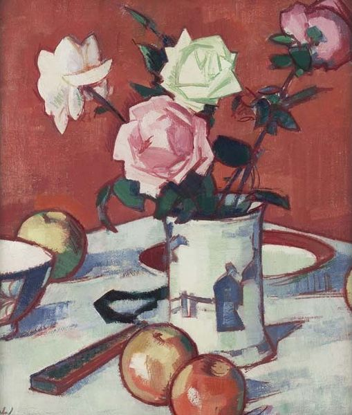 samuel peploe still life of mixed roses in chinese vase