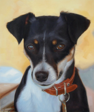 Dog Portrait. Hand painted with oils