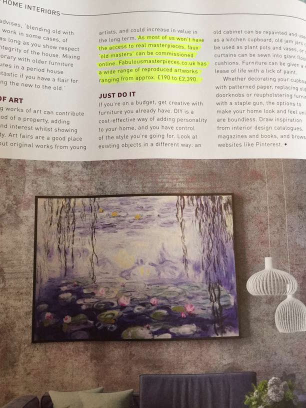 Fabulous Masterpieces fine art replica painting in Property and Homes Magazine