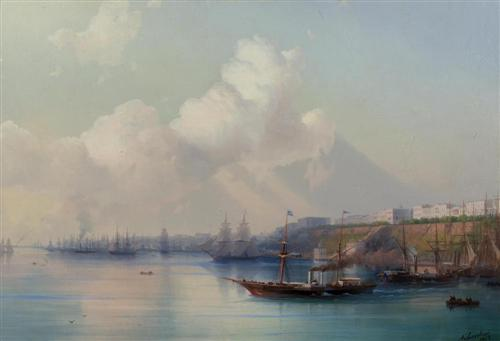 IVAN KONSTANTINOVICH AIVAZOVSKY. View of the port of Odessa with ships departing