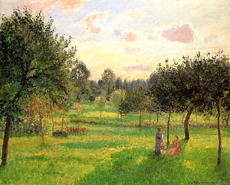 Pissarro - Two Women in a Meadow: Sunset at Eragny (1897)