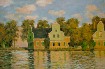 Monet's Houses on the Zaan River. Oil painting replica, 90 x 60cm.
