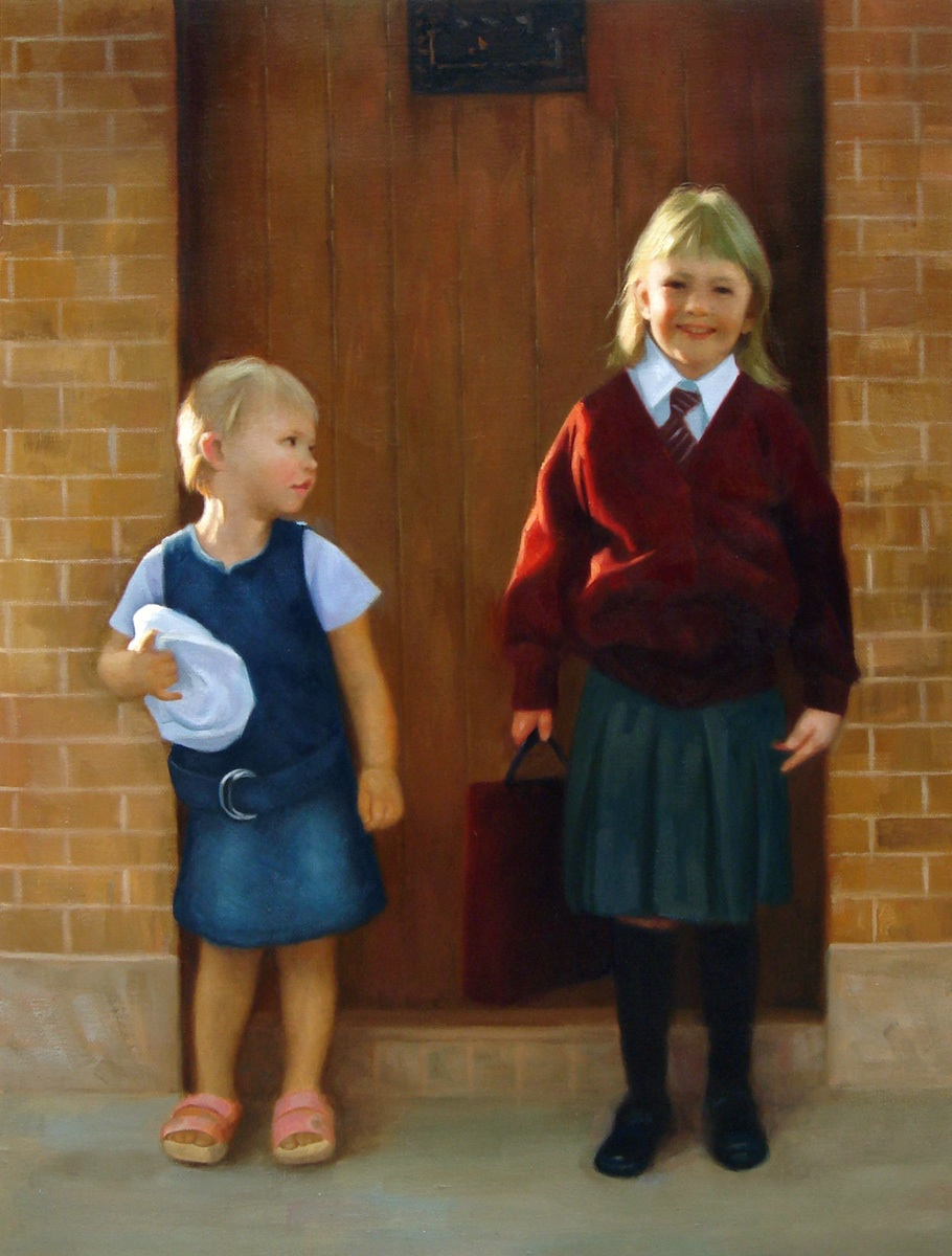 Hand painted portrait of the first day at school