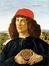 BotticelliPortrait of a Young Man with a Medallion of Cosimo