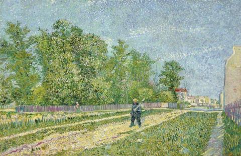 Vincent Van Gogh's Route aux confins de Paris, avec paysan portant la bêche sur l'épaule
